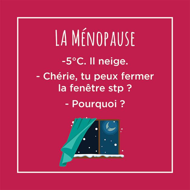 Post humoristique : La ménopause. -5°C. Il neige. Chérie tu peux fermer la fénêtre stp ? Pourquoi ?