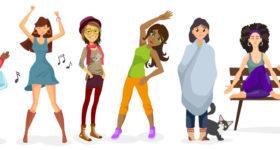 Les copines quinquas, illustration d'une bande de copines de 50 ans toutes différentes