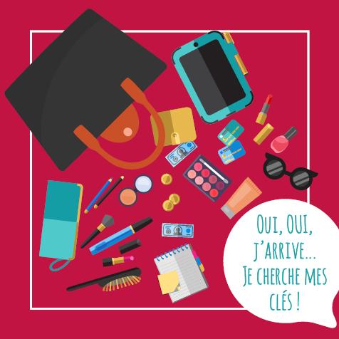 Post - Oui, Oui, j'arrive... Je cherche mes clés. Illustration d'un sac à main ouvert, avec plein d'objets, sauf des clés !