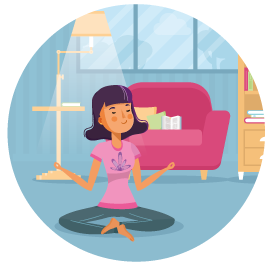 Défi : Je range à la méthode KonMari - Cérémonie - Ilustration d'une femme méditant dans son salon