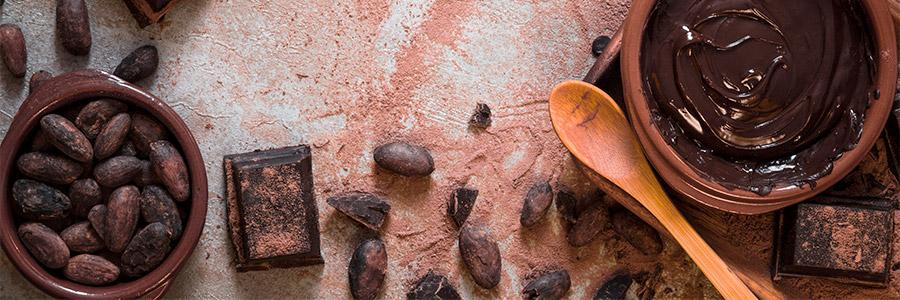 Sophrologie et chocolat - Image de chocolat en fève, carré et fondu