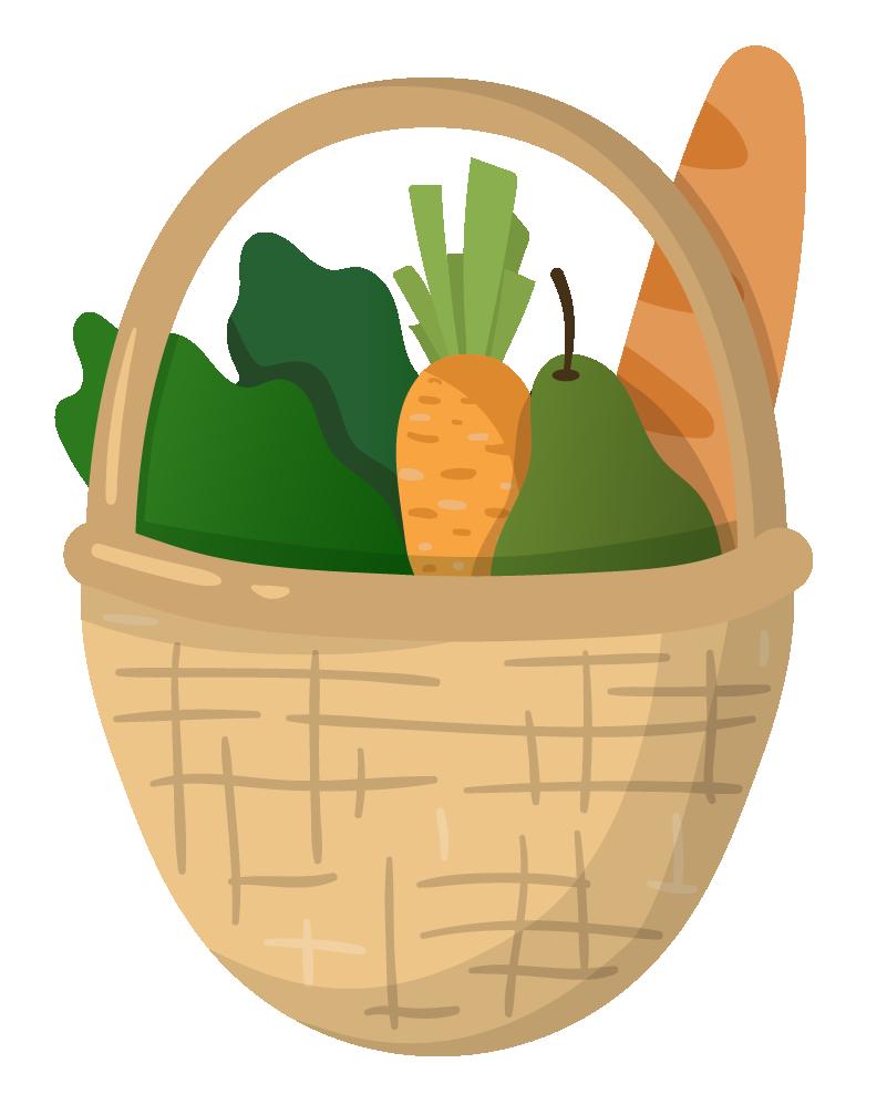 Zéro Déchet - On opte pour le vrac - Illustratin d'un panier de légumes