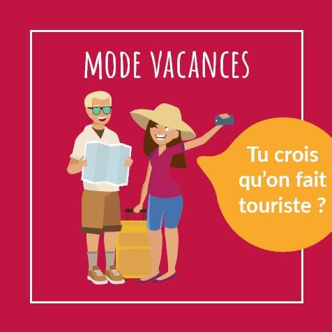 Post humoristique - Illustration d'un couple avec panoplie de vacanciers et appareil photo à la main - Tu crois qu'on fait touriste ?