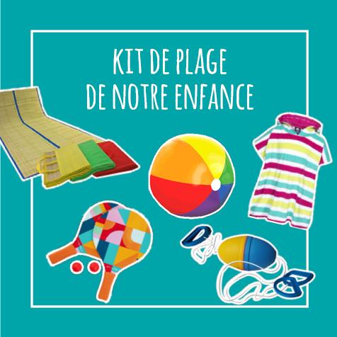 Post humoristique : Kit de plage de notre enfance : la serviette poncho, le boing, la natte de plage, les raquettes en bois, le ballon