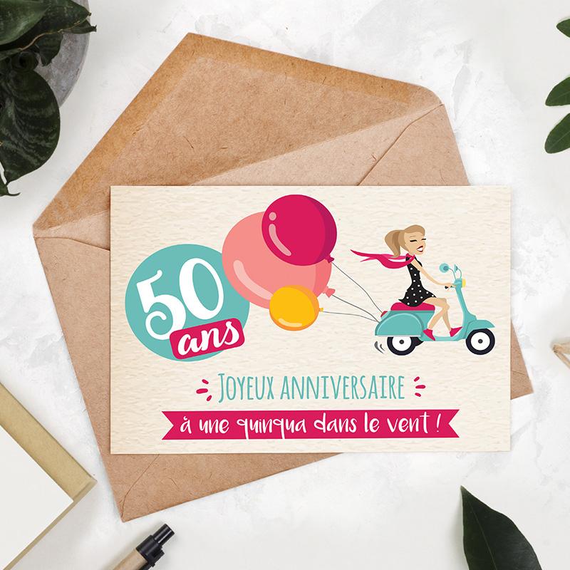 Carte Vegetale A Planter Anniversaire 50 Ans Femme 50 Ans Dans Le Vent