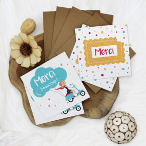 Cartes de remerciements végétales à planter, Lot de 4 cartes avec enveloppes