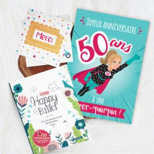 Kit Anniversaire, faites plaisir en offrant des cartes de remerciements végétales, une carte anniversaire 50 ans femme et un mini happy bullet !