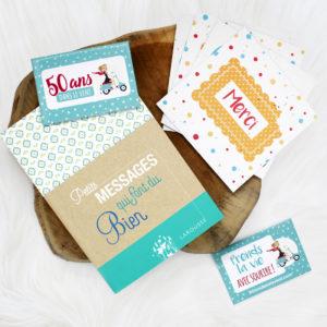 """Kit Happy, faites plaisir avec des cartes de remerciements végétales à planter, des magnets 50 ans dans le vent et un livre de citations """"Petits messages qui font du bien"""""""