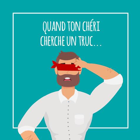 Post humoristique et Citation - Quand ton chéri cherche un truc - Illustration d'un homme se grattant la tête avec un bandeau sur les yeux