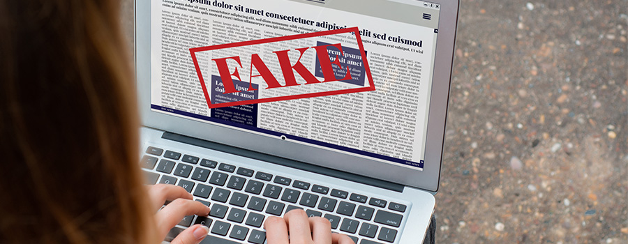 Photo d'une femme lisant des fausses information sur le web