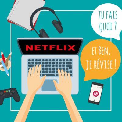 Post humoristique illustré - Ado qui fait semblant de réviser et qui regarde Netflix